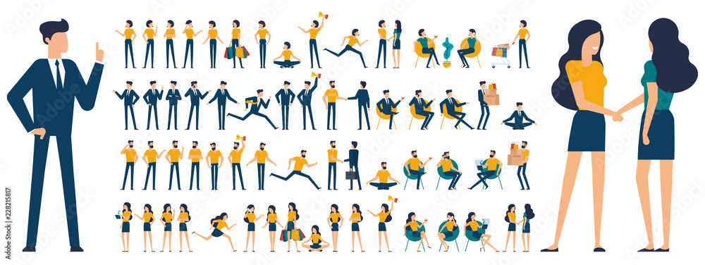 Fototapeta Set of  flat design  characters and poses