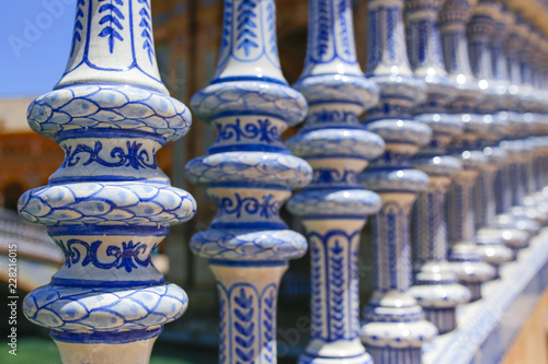Ceramic balusters at Plaza de Espana, Seville, Spain Wallpaper Mural