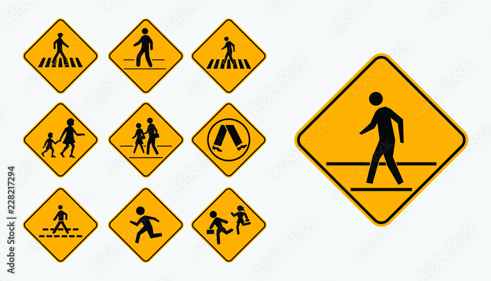 Fototapeta Set of pedestrian walk sign. easy to modify