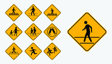 Set Of Pedestrian Walk Sign. Easy To Modify
