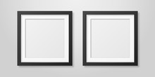 Two Vector Realistic Mofern Interior Black Blank Square Wooden Poster Picture Frame Set Closeup On White Wall Mock-up. Empty Poster Frames Design Template For Mockup, Presentation, Image Or Text
