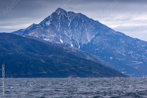 Fotografie, Obraz Landscape of Mount Athos in Autonomous Monastic State of the Holy Mountain, Chal