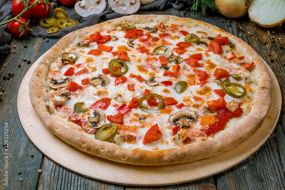 Mexican pizza with meat and jalapeno