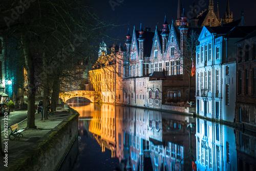 Fotobehang Centraal Europa Historic city of Brugge at night, Flanders, Belgium