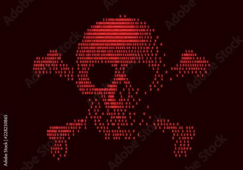 Fotografía  Digital skull and crossbones on binary code
