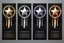Set Of Black Banners, Gold, Platinum,silver And Bronze Star, Vector Illustration.l