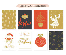 Collection Christmas Gift Tags In Vector. Merry Christmas Gift Tags