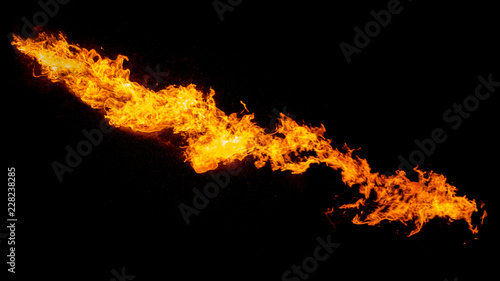 Photo sur Aluminium Feu, Flamme Dragon breathing flame, fire stream isolated on black