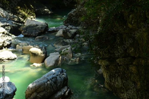Foto auf Leinwand Forest river stream in the forest among the stones