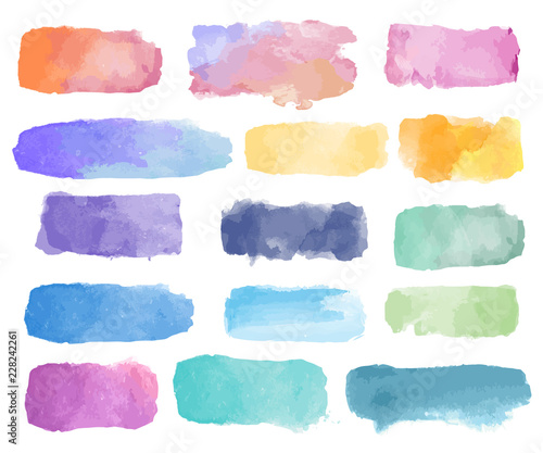 Colorful watercolor patch background vector Poster Mural XXL
