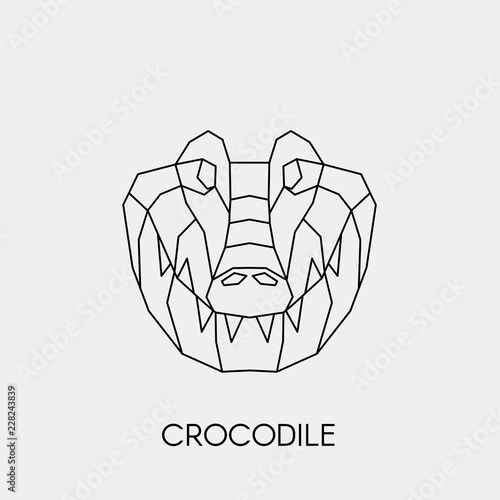 Fototapeta premium Geometric crocodile. Polygonal linear animal head. Vector illustration.