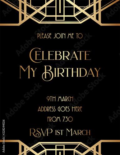 Photographie  Geometric Gatsby Art Deco Style Birthday Invitation Design