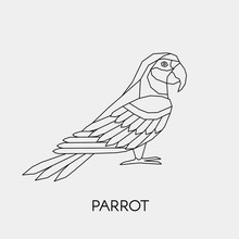 Geometric Parrot Macaw. Polygonal Linear Abstract Tropical Bird. Vector Illustration.