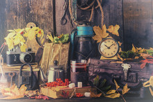 Autumn Still Life With Books, Vintage Suitcase. Toned Photo