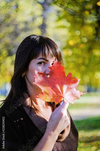 Spoed Foto op Canvas Canada Autumn Portrait of beautiful woman in dress, outdoors