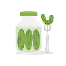 Vector Cartoon Illustration Of Pickles Jar With Pickle, Cucumber On Fork.