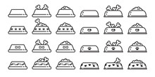 Dog Bowl Vector Icon Logo French Bulldog Symbol Dog Food Bone Paw Heart Cartoon Illustration Clip Art Graphic Simple