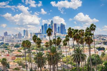 Piękny chmurny dzień Los Angeles w centrum linia horyzontu i drzewka palmowe w przedpolu