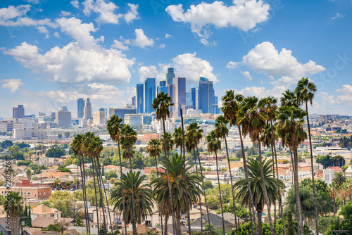 Canvas Print Beautiful cloudy day of Los Angeles downtown skyline and palm trees in foregroun