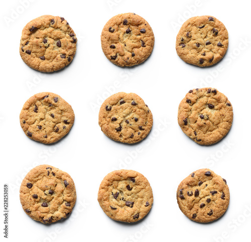 Foto op Plexiglas Koekjes Chocolate chip cookie collection. Isolated on white background