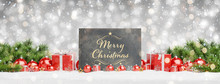 Christmas Card Laying On Red Baubles And Gift D 3D Rendering