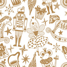 Christmas Vector Seamless Nutcracker Pattern.  Gold Seamless Pattern Can Be Used For Wallpaper, Pattern Fills, Web Page Background, Surface Textures.