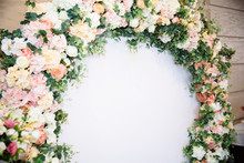 The Concept Of Wedding Decor, Street Decoration, Wedding Arch Is Decorated With Flowers - Pink And White Peonies. Wedding Day, Ceremony Place For The Bride And Groom, Decor, Flowers, Florists.