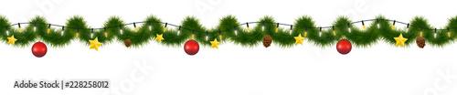 Fototapeta Festive Christmas garland. New Year decorative torse, Horizontally seamless festoon. obraz