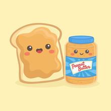 Cute Peanut Butter Bottle Jar And Loaf Bread Sandwich Vector Illustration Cartoon Smile