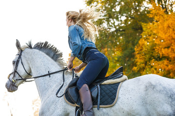 Woman horse riding in park