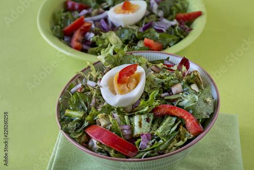 Obraz na plátně  Salat aus Endivien, Frisee, Radicchio und rotem Paprika