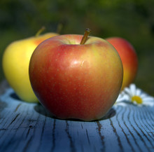 Red Yellow Apples On An Old Wo...