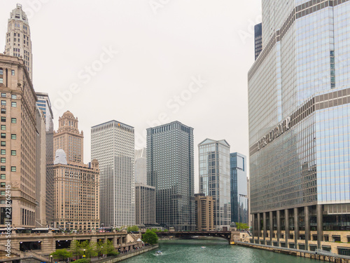Aluminium Prints Chicago View of Chicago downtown and skyscrapers, Illinois, USA