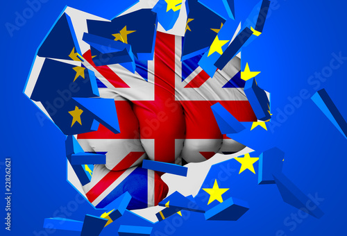 Fényképezés  3D illustration: a fist-shaped UK flag hits and destroys the EU flag