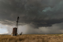 Great Plains Windmill With Supercell Thunderstorm