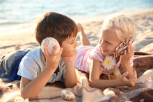 Cute Little Children With Sea ...