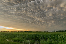Mammatus Clouds At The Back Of A Severe Thunderstorm In Nebraska