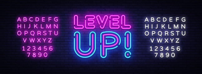 Level Up Neon Text Vector. Level Up neon sign, design template, modern trend ...