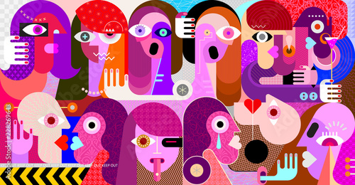 Poster Abstractie Art Large group of people vector illustration
