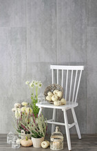 White Wooden Chair And Autumn Home Decoration With Baby Boo Pumpkins And Heathers
