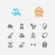 Sport icons set. Surfing and sport icons with bicycle race, marathon runner and basketball. Set of ocean for web app logo UI design.