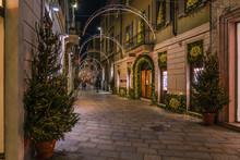 Milan Via Della Spiga Shopping Alley Christmas Time
