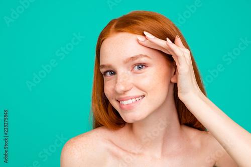 Fotografía  Advertising concept.  Close-up portrait of nude natural nice att