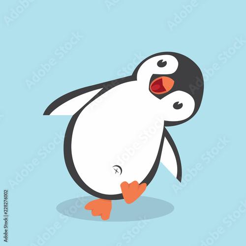 Fototapeta premium Ładny rysunek pingwina w stylu płaski