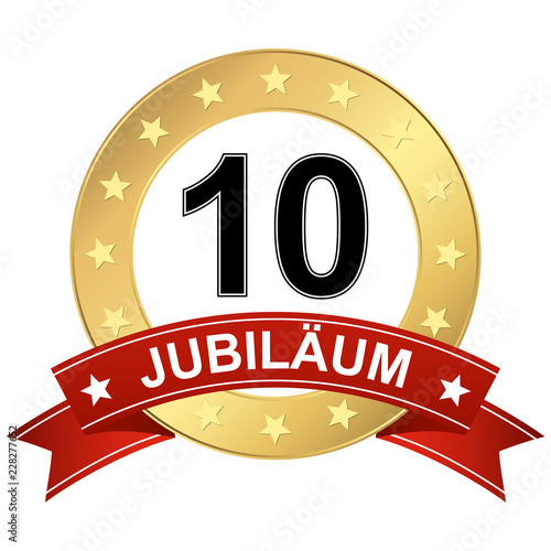 Fotografering Jubilee button with banner 10 years