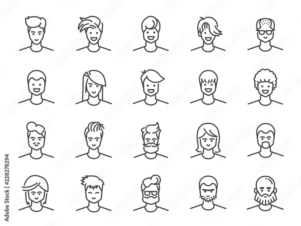 Fototapeta Man avatar line icon set. Included icons as Male, Boy, Profile, Personal and more.