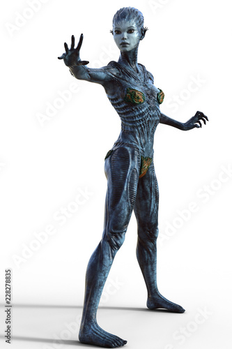 Female Alien creature in action pose isolated on white 3d render Wallpaper Mural