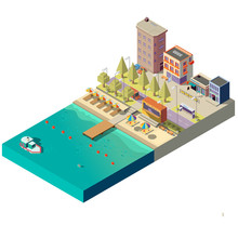 Vector 3d Isometric Beach With...