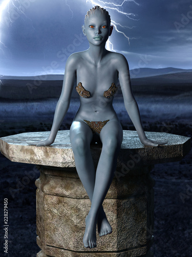 Photo  Female Alien creature sitting on a stone platform on stormy night background 3d