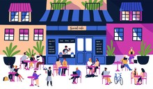 Many Tiny People Sitting At Outdoor Sidewalk Cafe, Coffeehouse Or Restaurant With Tables, Chairs On City Street Against Building Facades On Background. Colorful Illustration In Modern Flat Style.